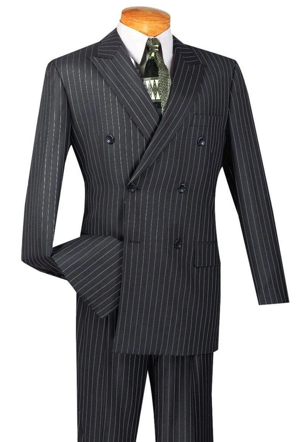Rockefeller Collection - Double Breasted Stripe Suit Charcoal Regular Fit 2 Piece - Mens Suits