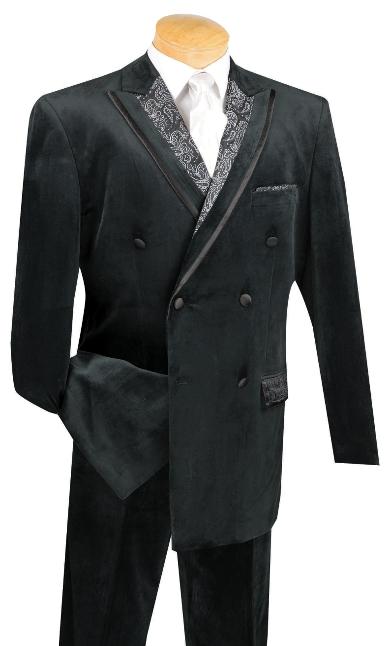 Caesar Collection - Velvet Black Double Breasted Classic Fit 6 Buttons Suit with Single Pleated Pants - SUITS OUTLETS