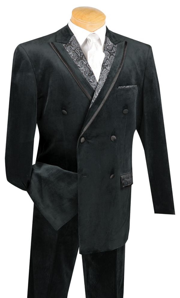 Caesar Collection - Velvet Black Double Breasted Suit Regular Fit 2 Piece - SUITS FOR MENS