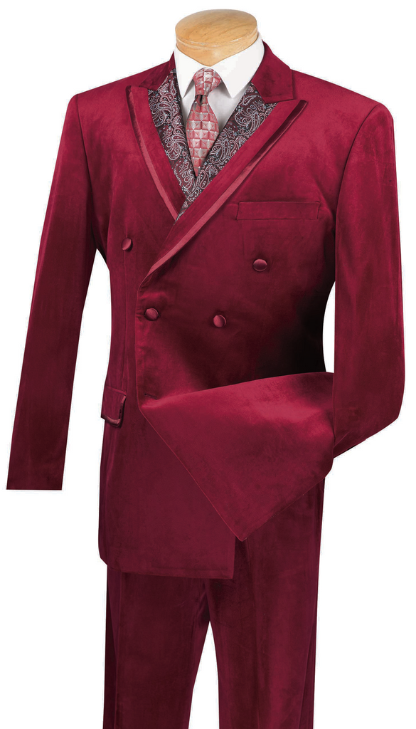 Caesar Collection - Velvet Burgundy Double Breasted Classic Fit 6 Buttons Suit with Single Pleated Pants - SUITS OUTLETS