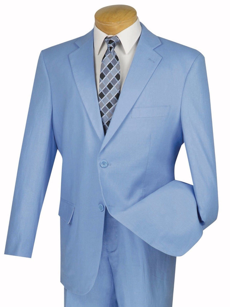 Linen Men's Regular Fit Suit 2 Piece 2 Button in Blue - SUITS FOR MENS