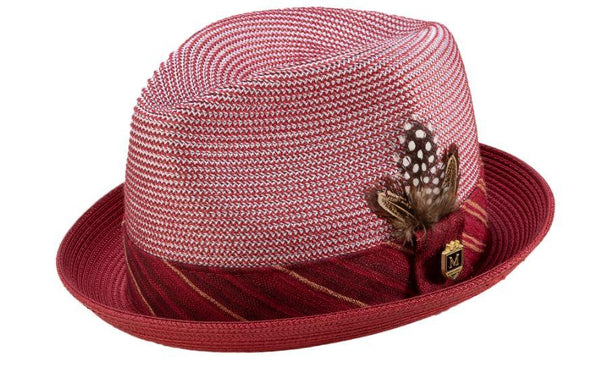 Burgundy Braided Stingy Brim Pinch Fedora Hat - SUITS FOR MENS