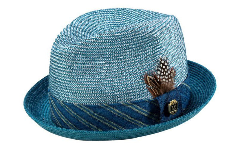 Teal Braided Stingy Brim Pinch Fedora Hat - SUITS FOR MENS