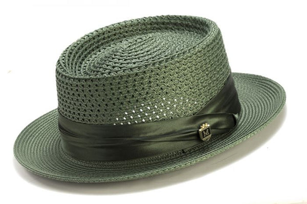 Men's Straw Hat Contemporary Pork Pie Style in Hunter Green - SUITS FOR MENS