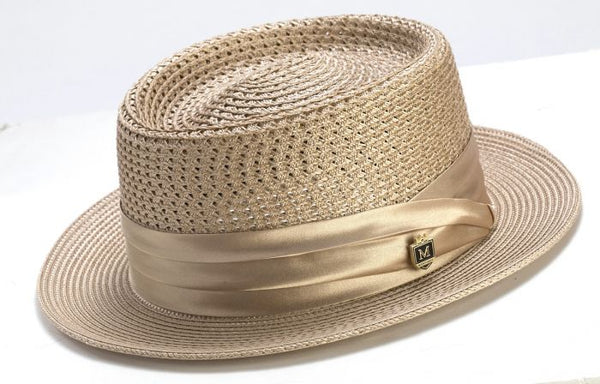 Men's Straw Hat Contemporary Pork Pie Style in Tan