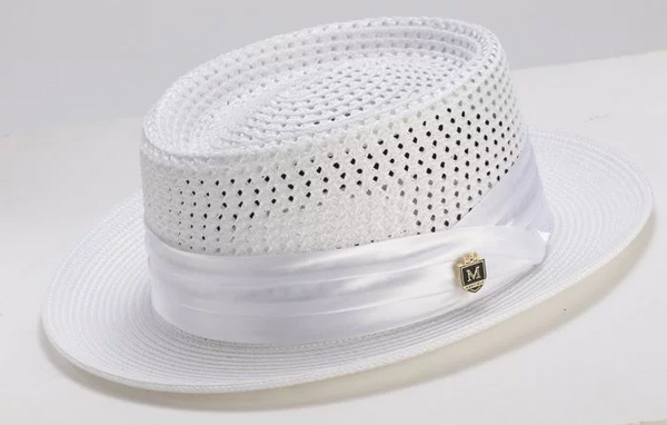 Men's Straw Hat Contemporary Pork Pie Style in White - SUITS FOR MENS