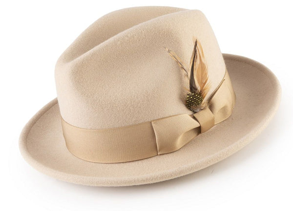 Wool Felt Fedora Pinch Front with Feather Accent in Beige - SUITS FOR MENS