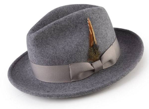 Wool Felt Fedora Pinch Front with Feather Accent in Gray - SUITS FOR MENS