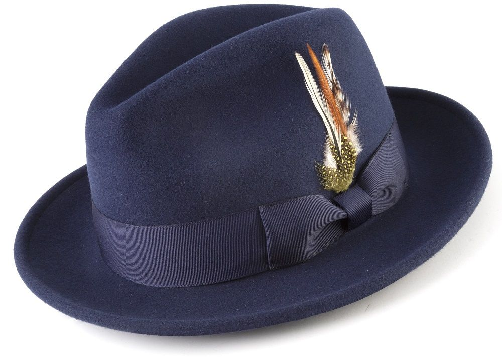 110073d140779 100% Wool Fedora Pinch Front with Feather Accent in Navy - SUITS FOR MENS