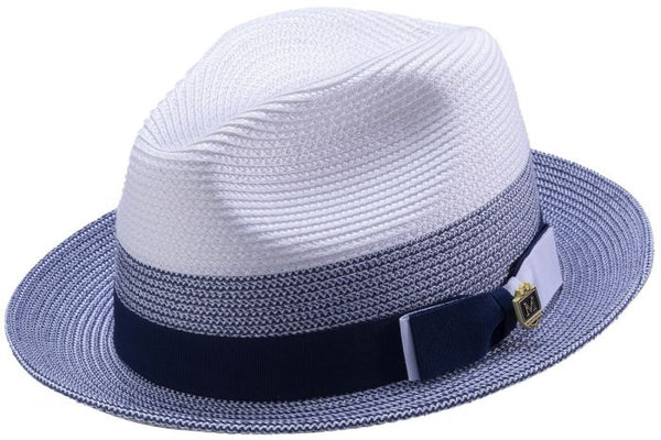 Men's Straw Fedora Two Tone Weave in Sapphire