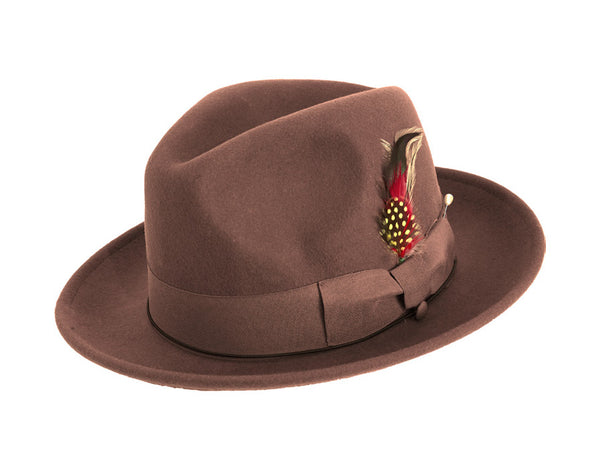 Pinch Fedora with Feather Accent in Brown - SUITS FOR MENS