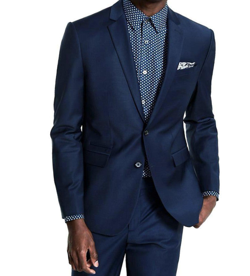 Wool Blend Regular Fit 2 Pieces 2 Buttons Midnight Blue - Mens Suits