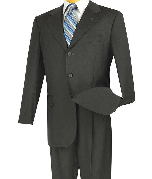 Mont Blanc Collection - Regular Fit Suit 3 Button 2 Piece in Teal Charcoal - SUITS FOR MENS