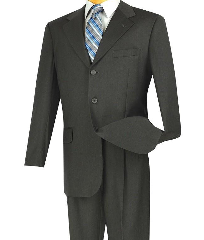 Charcoal Men's Classic Fit Suit 3 Button Design - SUITS OUTLETS