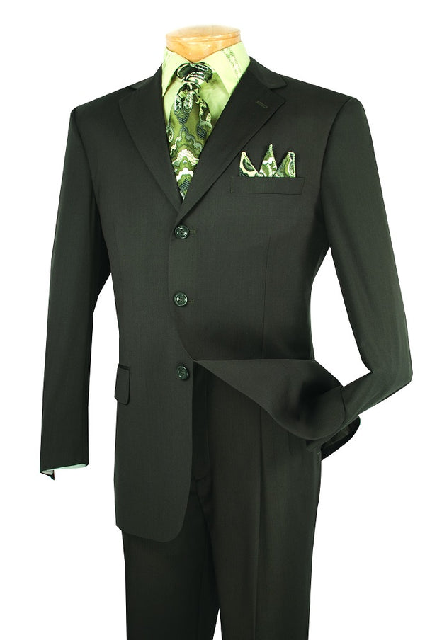 Mont Blanc Collection - Regular Fit Suit 3 Button 2 Piece in Olive - SUITS FOR MENS