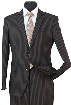Regular Fit Wool Blend 2 Piece Suit Black Pinstripe