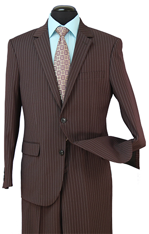 Regular Fit Wool Blend 2 Piece Suit Brown Pinstripe