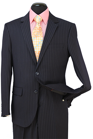 Regular Fit Wool Blend 2 Piece Suit Navy Pinstripe