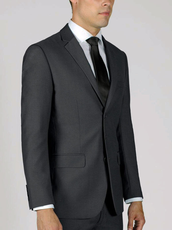 Regular Fit 2 Piece Suit 3 Button in Dark Gray - SUITS FOR MENS