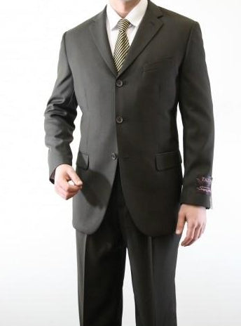 Regular Fit 2 Piece Suit 3 Button in Dark Olive - SUITS FOR MENS