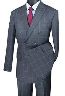 Medium Gray Modern Fit Double Breasted Windowpane Peak Lapel 2 Piece Suit - SUITS FOR MENS