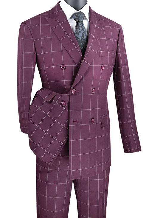 Wine Modern Fit Double Breasted Windowpane Peak Lapel 2 Piece Suit - SUITS FOR MENS