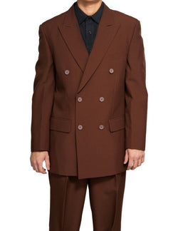 Atlantis Collection - Brown Regular Fit Double Breasted 2 Piece Suit - SUITS FOR MENS