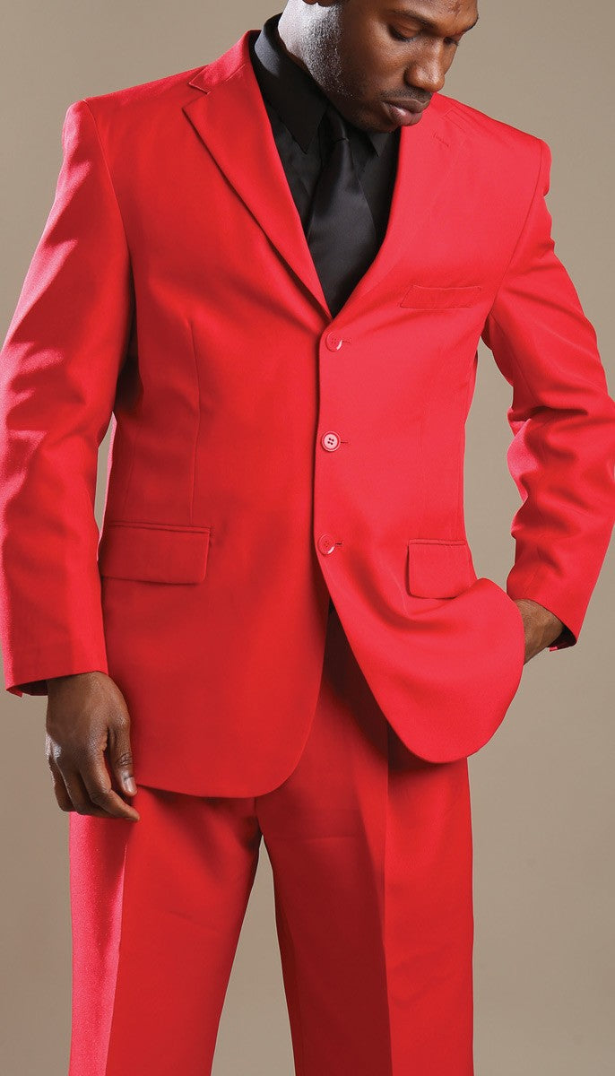 Red Suits Men's Classic Fit Suit Three Button Design Everyday Suits - SUITS OUTLETS