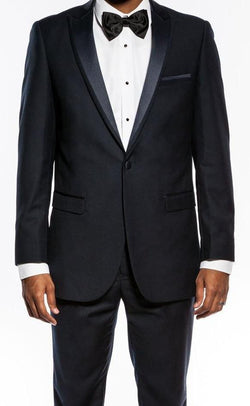 Navy Slim Fit 2 Piece Tuxedo With Satin Peak Lapel - SUITS FOR MENS