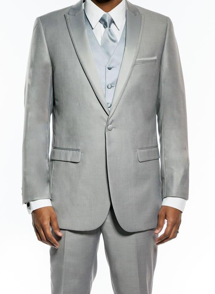 Light Gray Slim Fit Tuxedo With Satin Peak Lapel 2 Pieces - SUITS FOR MENS