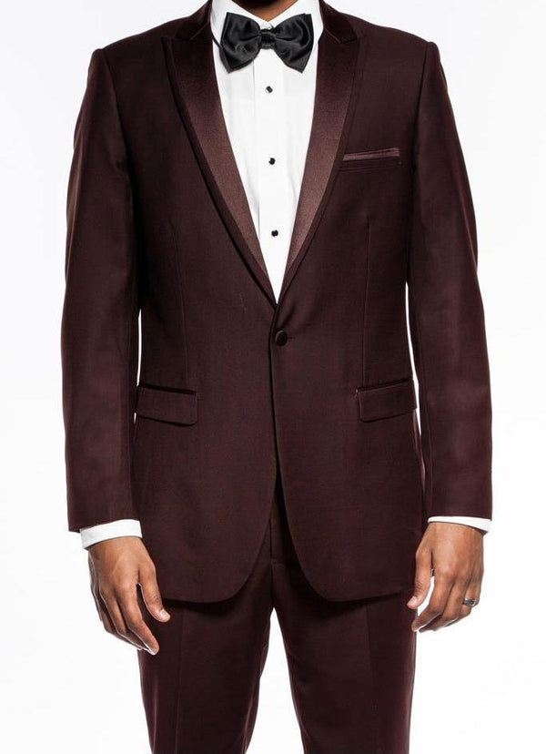 Brown Slim Fit 2 Piece Tuxedo With Satin Peak Lapel - SUITS FOR MENS