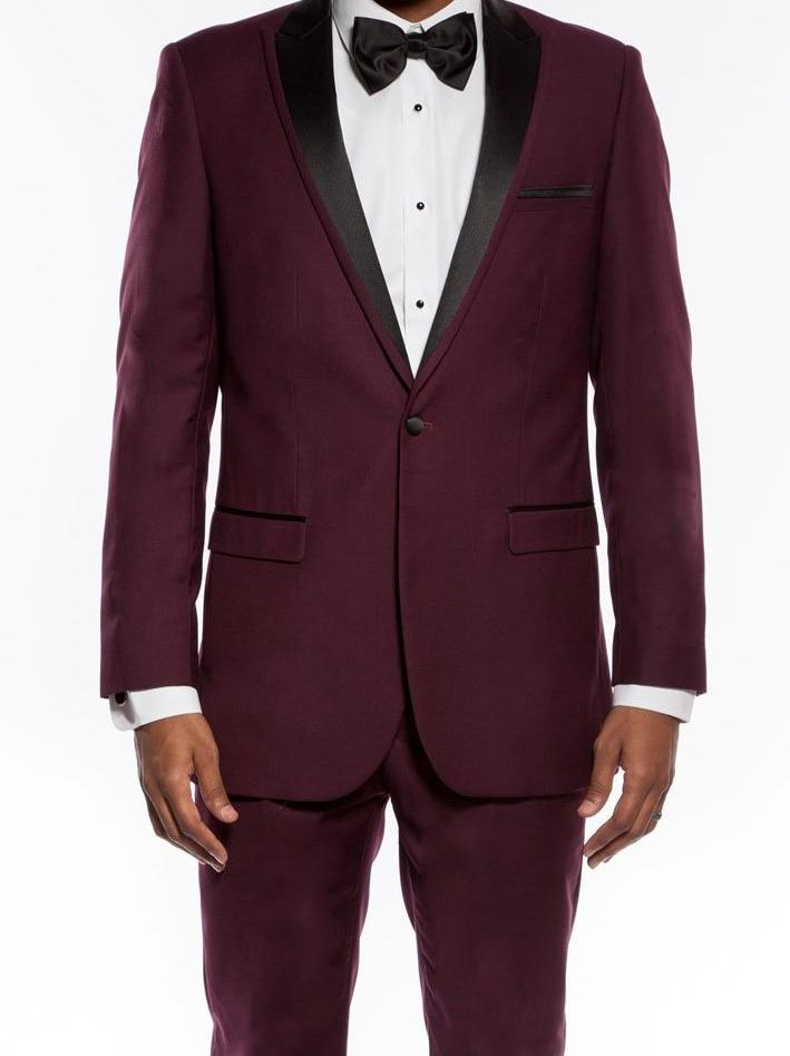 Burgundy Slim Fit 2 Piece Tuxedo With Satin Peak Lapel - SUITS FOR MENS