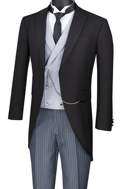 Modern Fit Tuxedo 3 Piece With Tail Double-Breasted Vest - SUITS FOR MENS