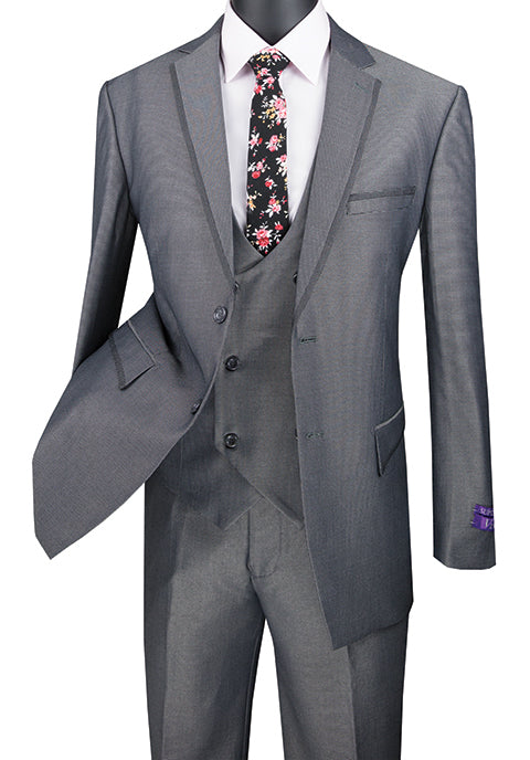Charcoal Modern Fit 3 Piece Suit Birdseye Pattern with Contrast Trim - SUITS FOR MENS
