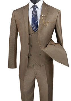 Khaki Modern Fit 3 Piece Suit Birdseye Pattern with Contrast Trim - SUITS FOR MENS
