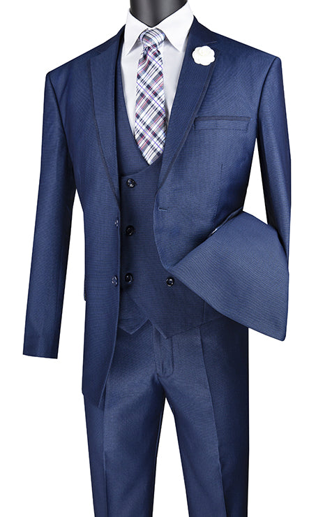 Navy Modern Fit 3 Piece Suit Birdseye Pattern with Contrast Trim - SUITS FOR MENS