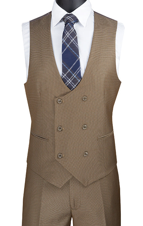 Khaki Modern Fit 3 Piece Suit Birdseye Pattern with Contrast Trim
