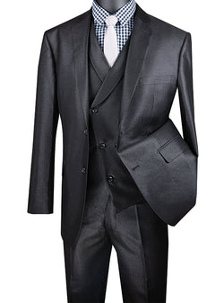 Black Modern Fit Shiny Sharkskin 2 Button 3 Piece Suit - SUITS FOR MENS