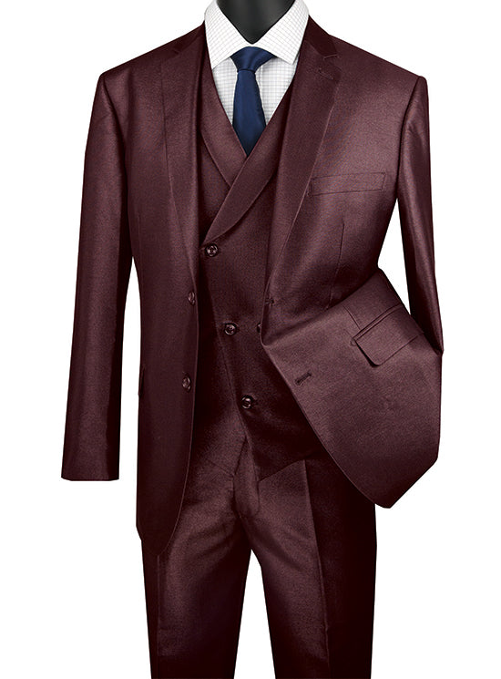 Burgundy Modern Fit Shiny Sharkskin 2 Button 3 Piece Suit - SUITS FOR MENS