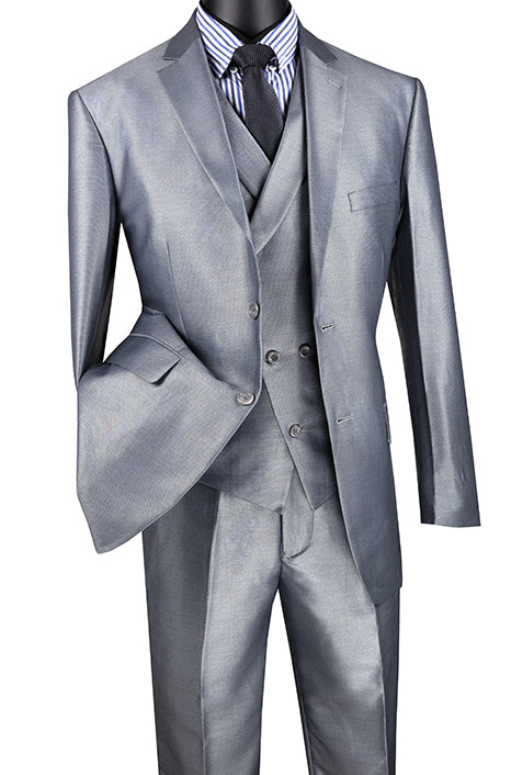Gray Modern Fit Shiny Sharkskin 2 Button 3 Piece Suit - SUITS FOR MENS