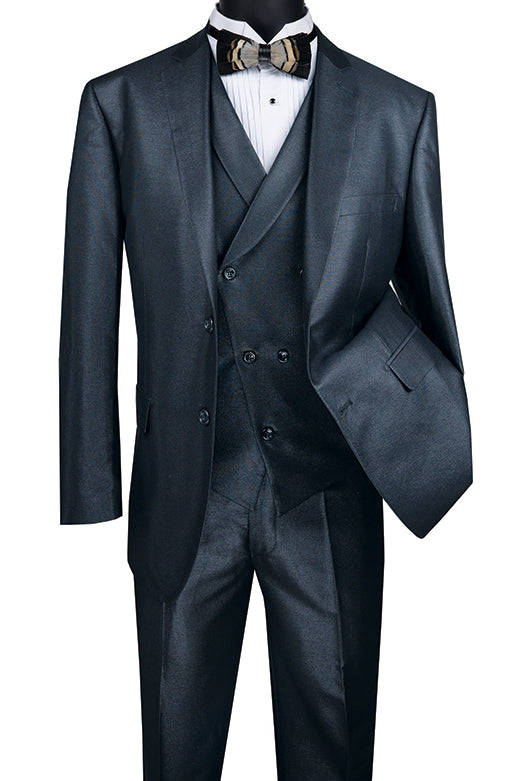 Midnight Blue Modern Fit Shiny Sharkskin 2 Button 3 Piece Suit