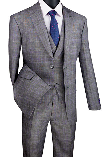 Gray Modern Fit Glen Plaid 2 Button Peak Lapel 3 Piece Suit - SUITS FOR MENS