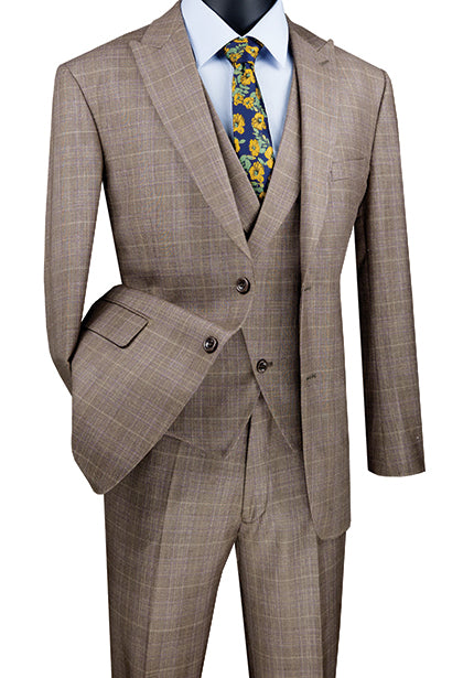 Tan Modern Fit Glen Plaid 2 Button Peak Lapel 3 Piece Suit - SUITS FOR MENS