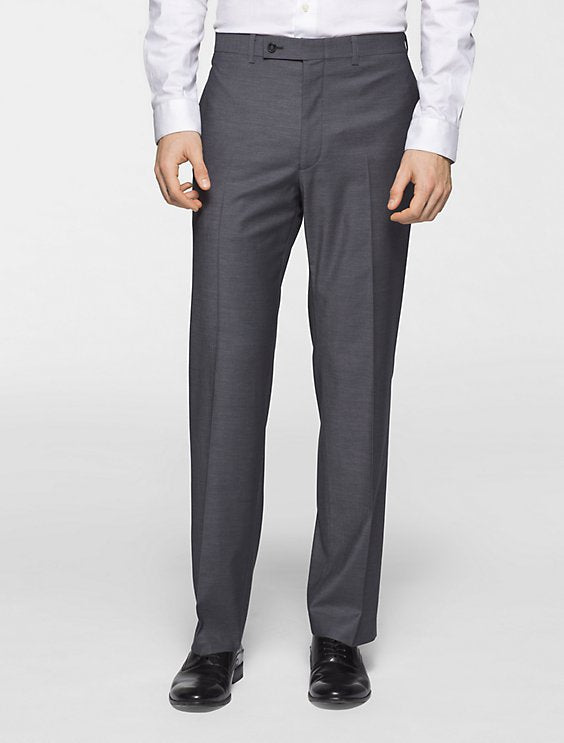 Gray Ultra Slim Fit Dress Pants Flat Front Pre-hemmed - SUITS FOR MENS
