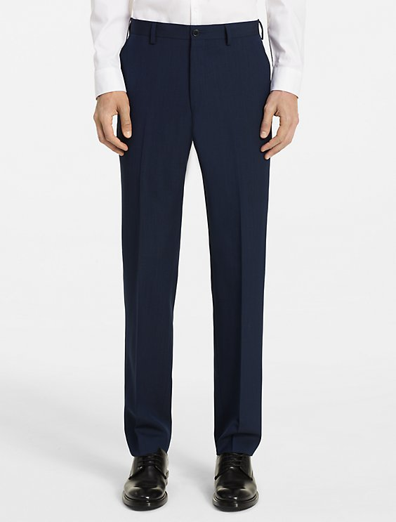 Navy Ultra Slim Fit Dress Pants Flat Front Pre-hemmed - SUITS OUTLETS