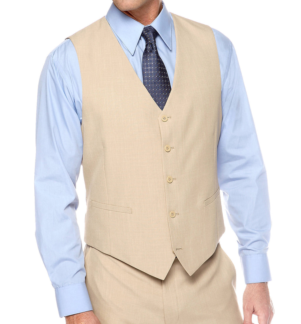 Beige Slim Fit Vest Single Breasted 5 Buttons Design - SUITS FOR MENS