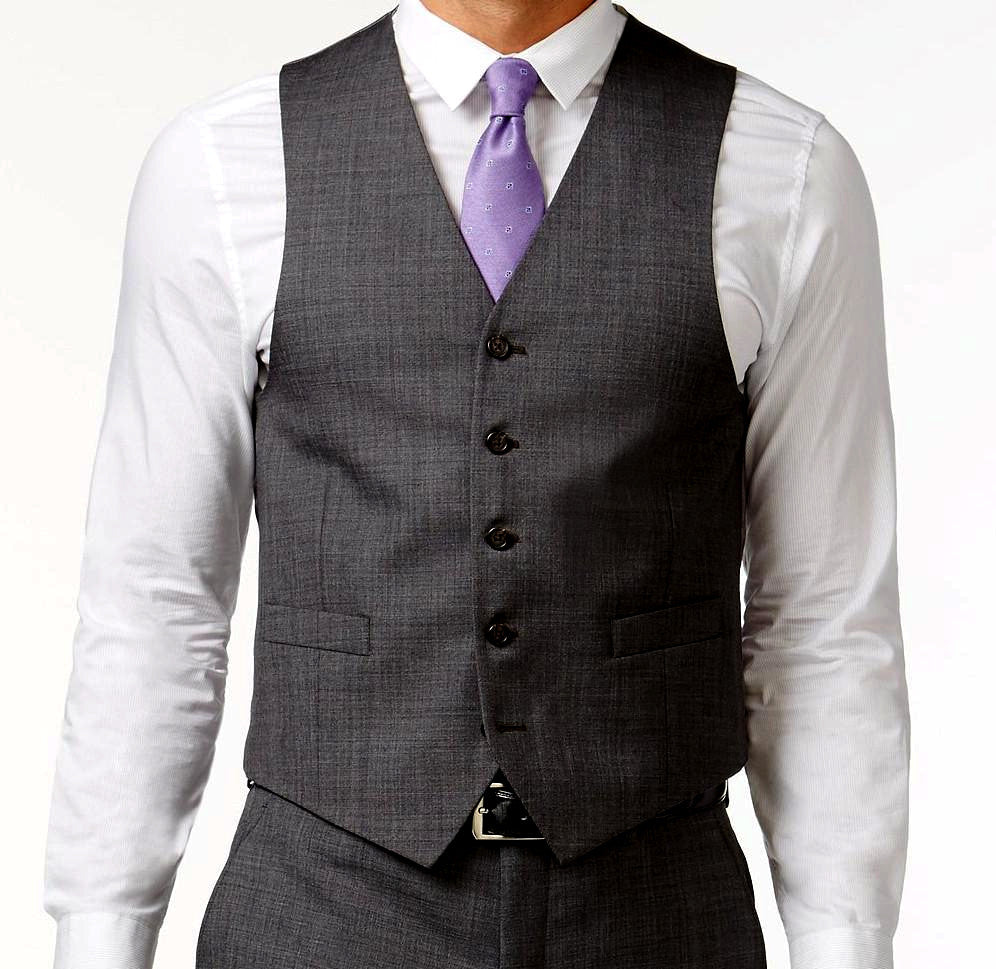 Charcoal Slim Fit Vest Single Breasted Vest 5 Buttons Design - SUITS OUTLETS