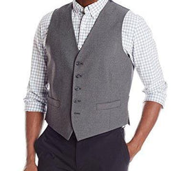 Gray Slim Fit Vest Single Breasted 5 Button Design - SUITS FOR MENS