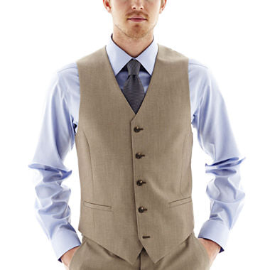 Khaki Slim Fit Vest Single Breasted 5 Button Design - SUITS FOR MENS