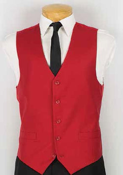 Red Slim Fit Vest Single Breasted 5 Button Design - SUITS FOR MENS